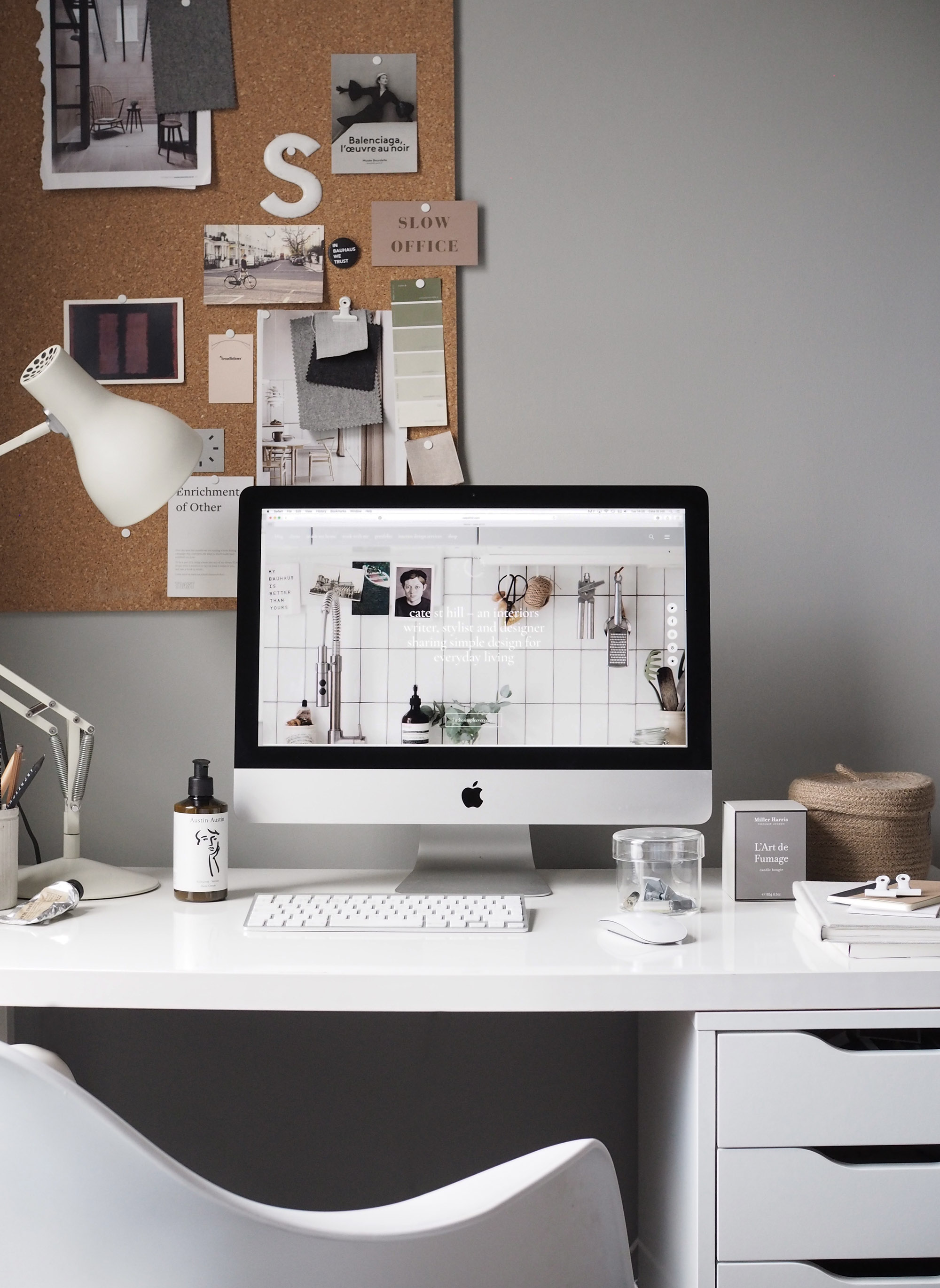 grey home office. A Cosy, Grey Home Office For Freelance Creative - My Makeover Reveal U