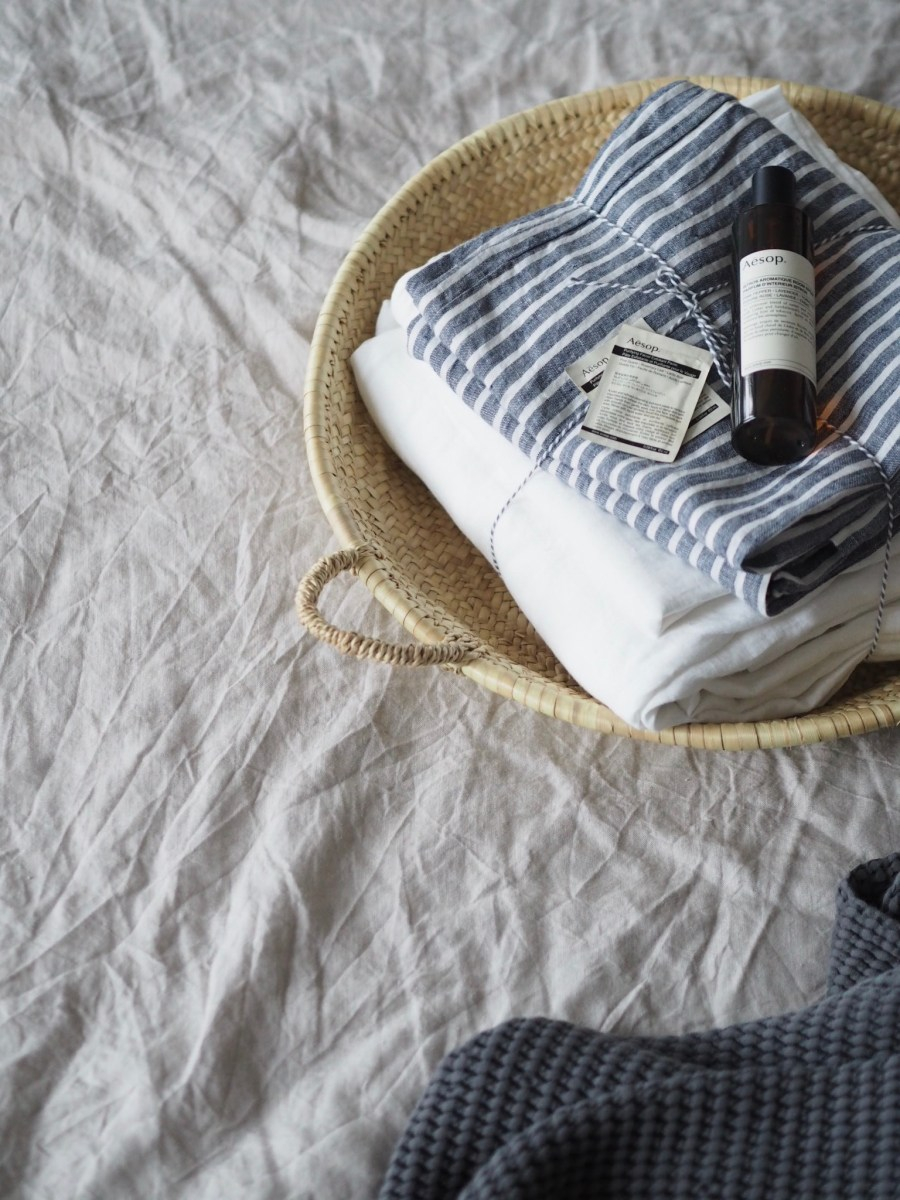 Midnight Stripe linen bedding by Piglet. Image: Cate St Hill