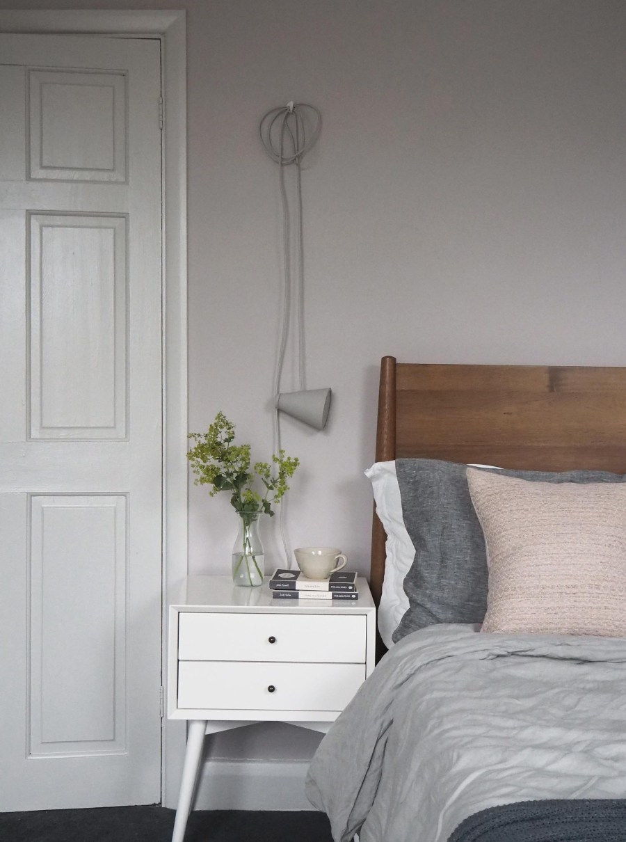 A soft blush pink bedroom with Farrow & Ball's Peignoir