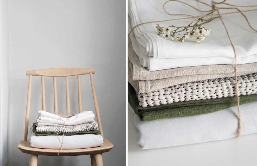 Light Scandi style bedroom with French linen bedding. Beautiful piles of fresh laundry. How to care for your bed linen, with eco-friendly dry cleaners BLANC London [AD]