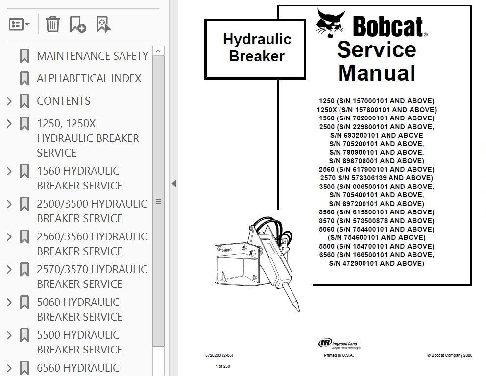 Bobcat Hydraulic Breaker 1250, 1250x, 1560, 2500, 2560