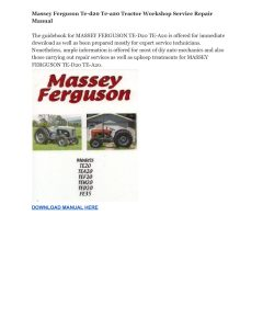 Massey Ferguson Te-d20 Te-a20 Tractor Workshop Service Repair Manual