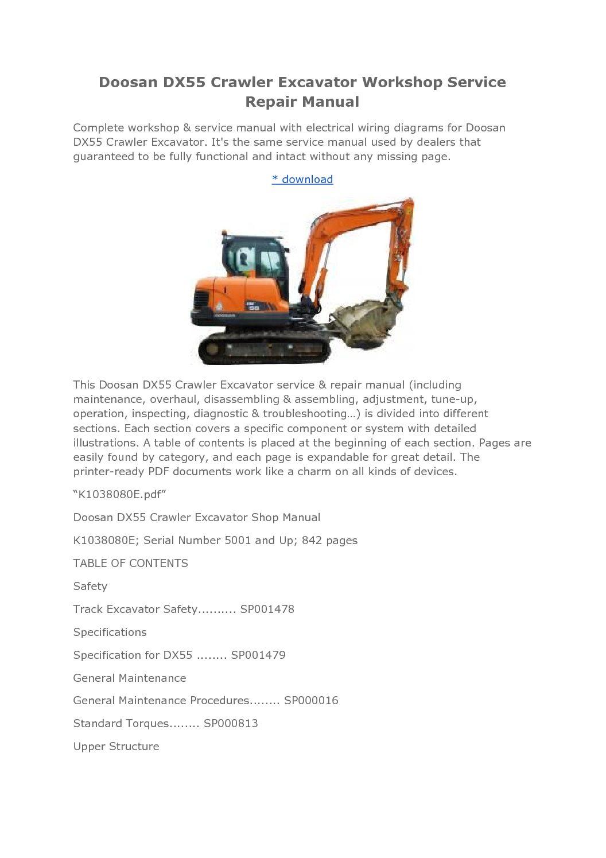 hight resolution of doosan dx55 crawler excavator workshop service repair manual jpg