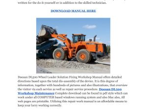 Doosan Dl500 Wheel Loader Service Repair Workshop Manual Download