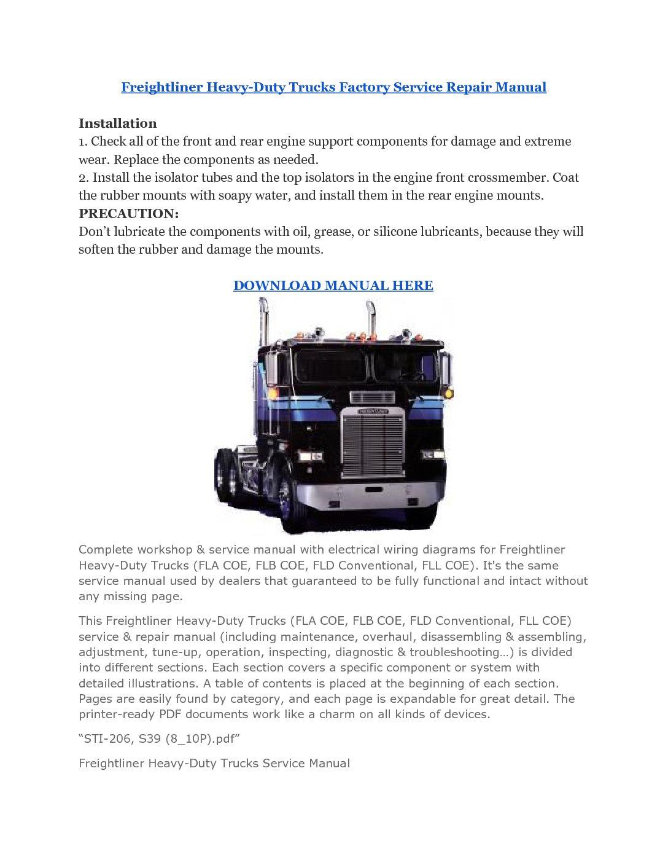 Freightliner Heavy-Duty Trucks Factory Service Repair Manual