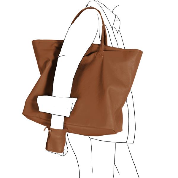 bag simpli-cube leather Catherine Loiret caramel