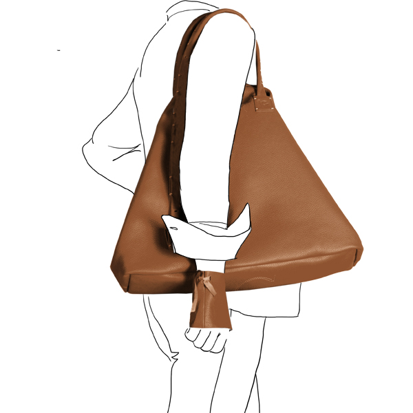bag simpli-cube leather Catherine Loiretcaramel Catherine Loiret