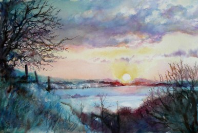 Winter sunrise - sold watercolour