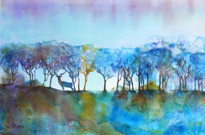 The Stag, watercolour - for sale