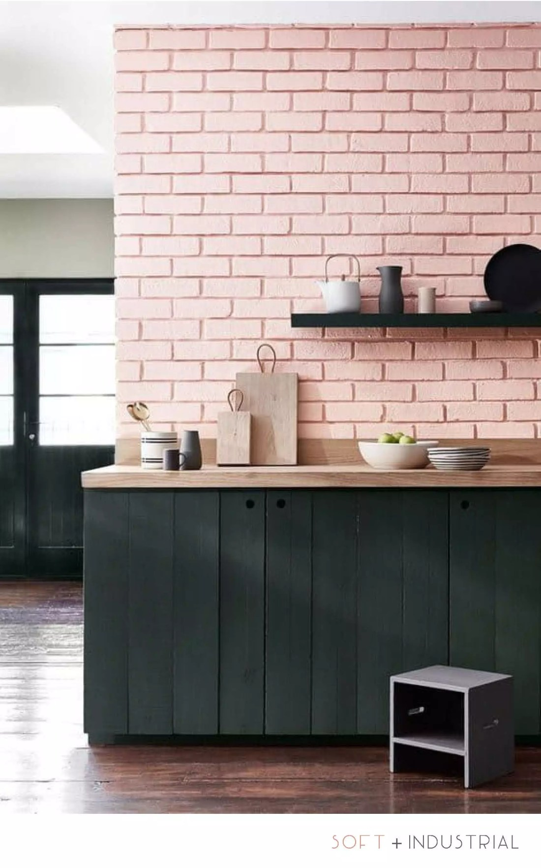 Kitchen Interior Design - Pink Brick Rustic Forest Green Cabinets