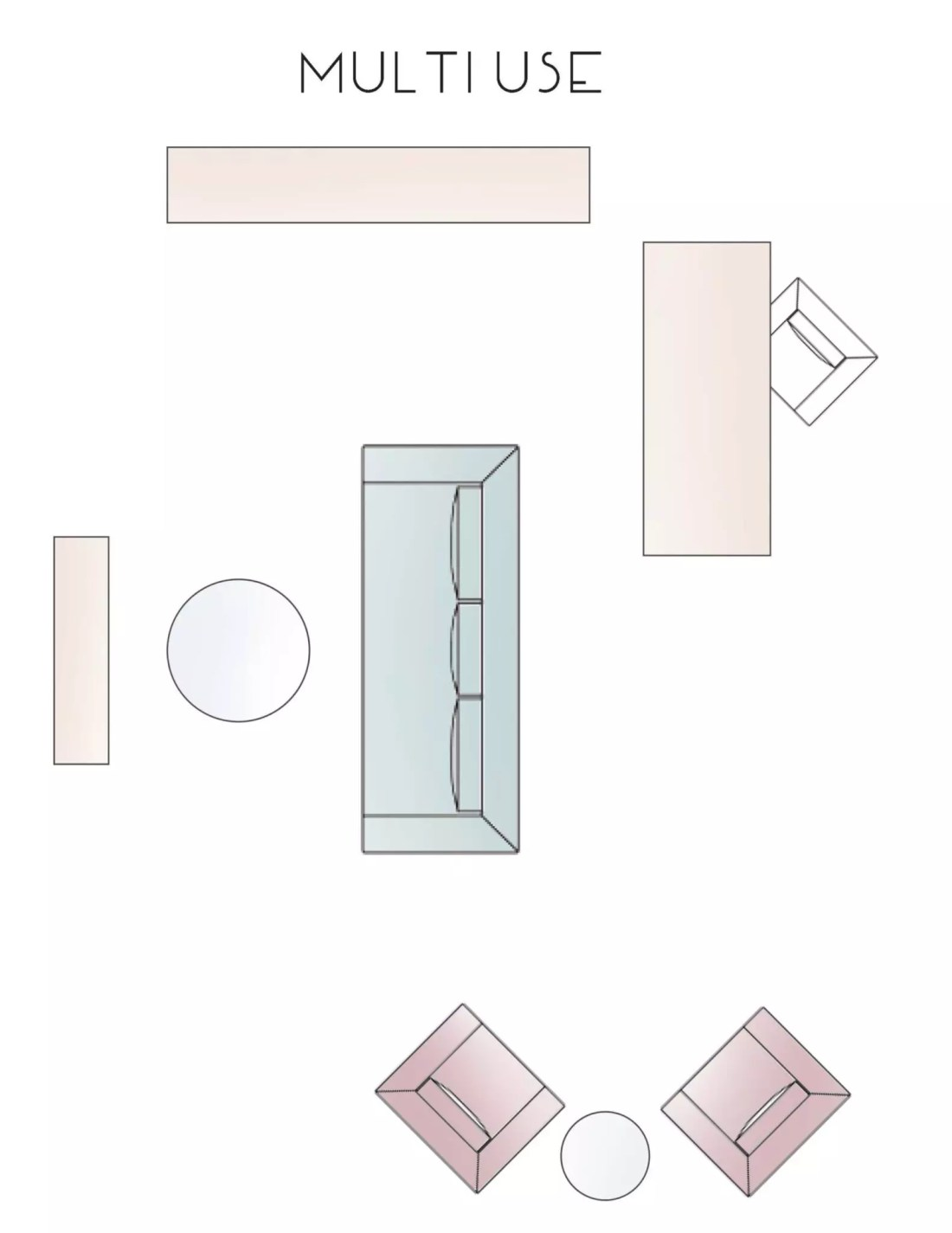 Multi Use Living Room Layout Option - Catherine French Design