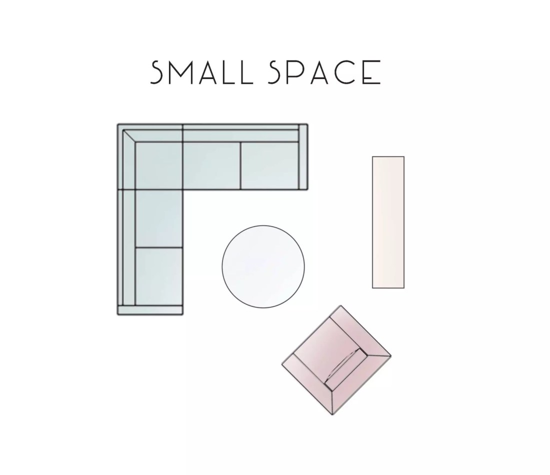 Small Space Living Room Layout Option - Catherine French Design