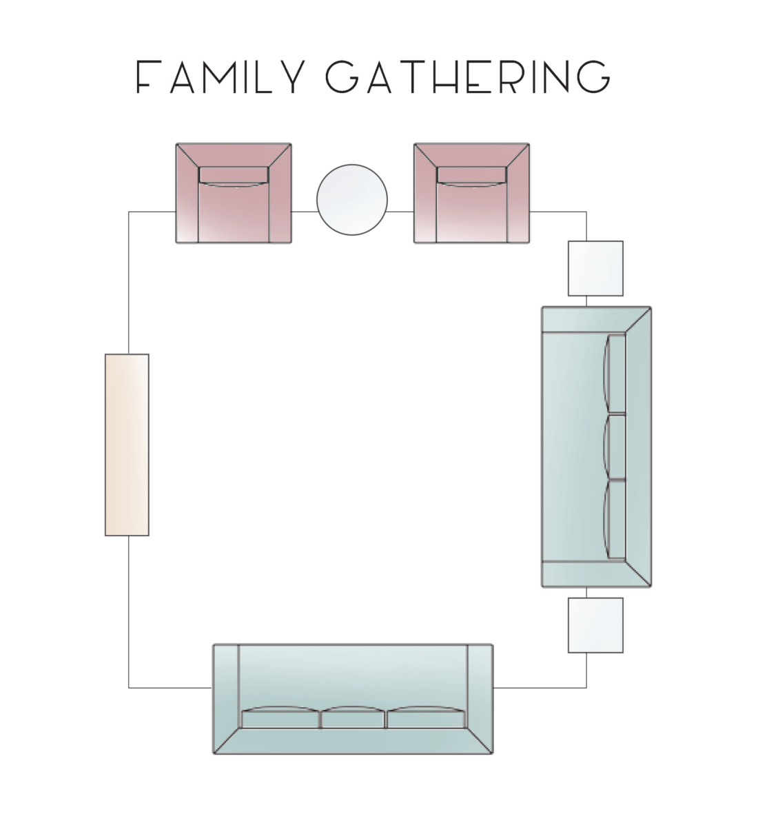 Family Gathering Living Room Layout Option - Catherine French Design