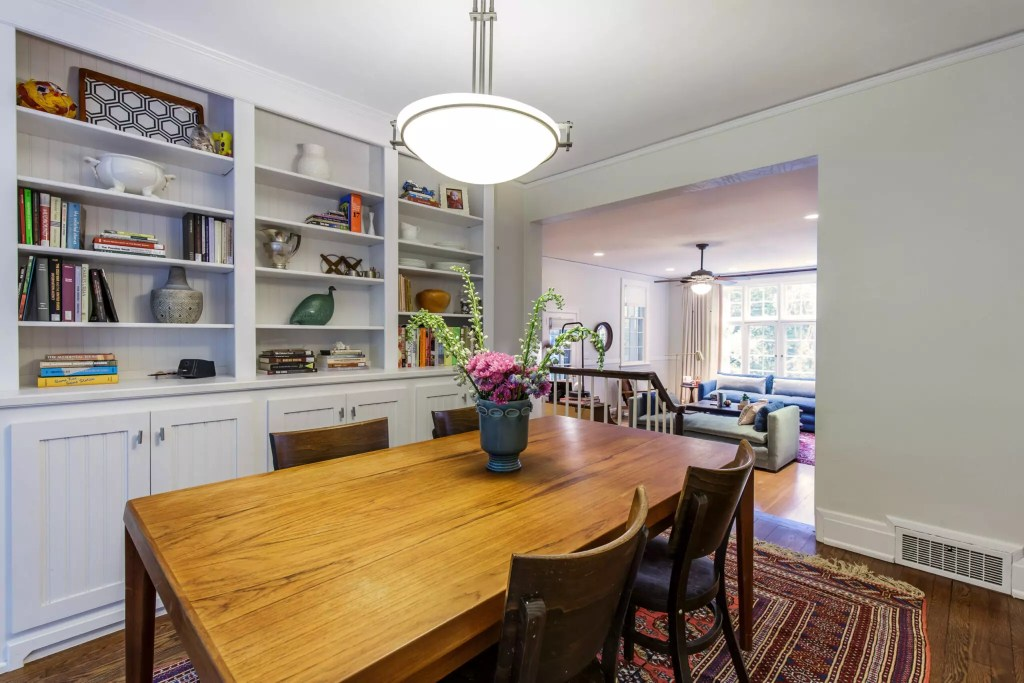 Catherine French Design - Dinning Room with Styled Bookshelves
