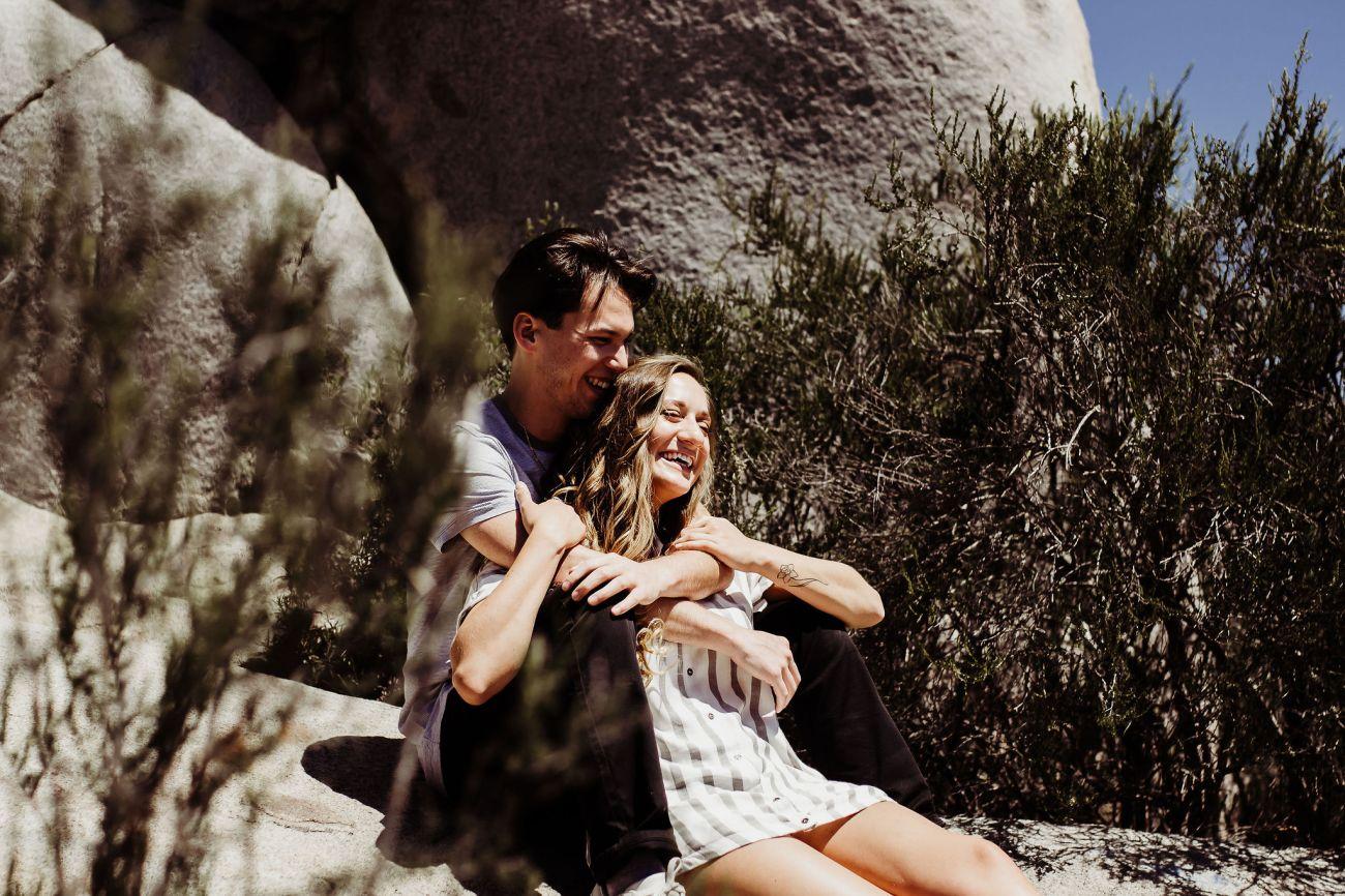 boyfriend girlfriend laughing holding hands walking through hiking trails san diego {virginia beach lifestyle newborn child couples family maternity engagement photographer}