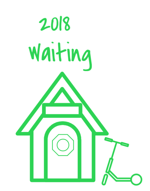 2018 Waiting Year in Review Poster House with Scooter and Octagonal Window on Door
