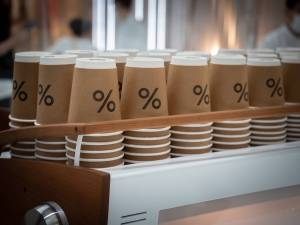 To go cups with percent symbol