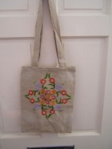linen embroider bag