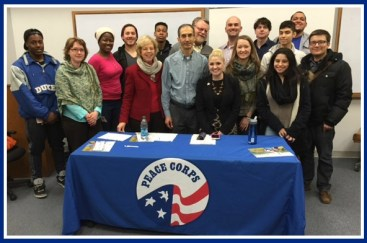 Panelists and students in the Peace Corps Prep program. I'm in red in front