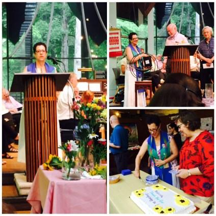 Rev. Roberta preaching, receiving gifts, cutting the cake