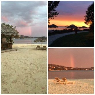 The sunset had its 'reflection' in a rainbow on the other side of the bay.