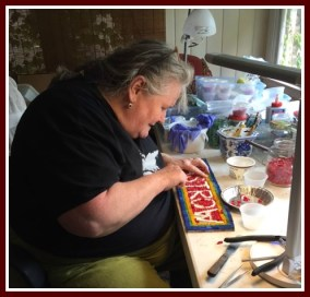 Sister-in-law Mary at work on a mosaic.