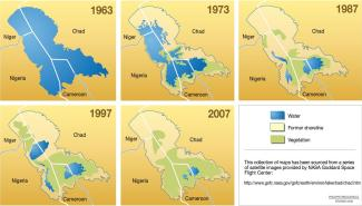 Lake Chad changes, compiled from NASA satellite images. As you can guess, the blue is water.