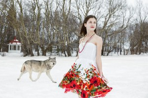 She Wolf, by artist Catherine Rondeau. Surreal photomontage inspired by female adolescence. Evocation of the passage from girlhood to womanhood in a strange dreamlike winter setting.