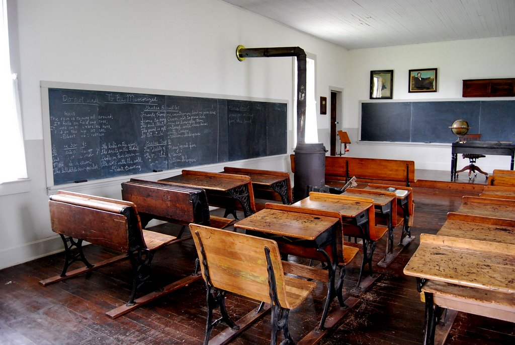 This one-room school house once stood in Piper, Kansas.  It's now one of the exhibits at the Agricultural Museum and Hall of Fame in Bonner Springs, Kansas.