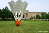 You can see the back of the Nelson-Atkins Museum of Art, which from this perspective looks small compared with the giant shuttlecock.