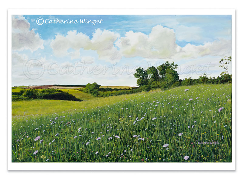 Landscape painting Oil Painting english Countryside Wildflower Meadow by Catherine winget