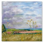 Whipsnade View - by Catherine Winget - oil on canvas oil landscape painting horizon art artist hogweed fields farmsland