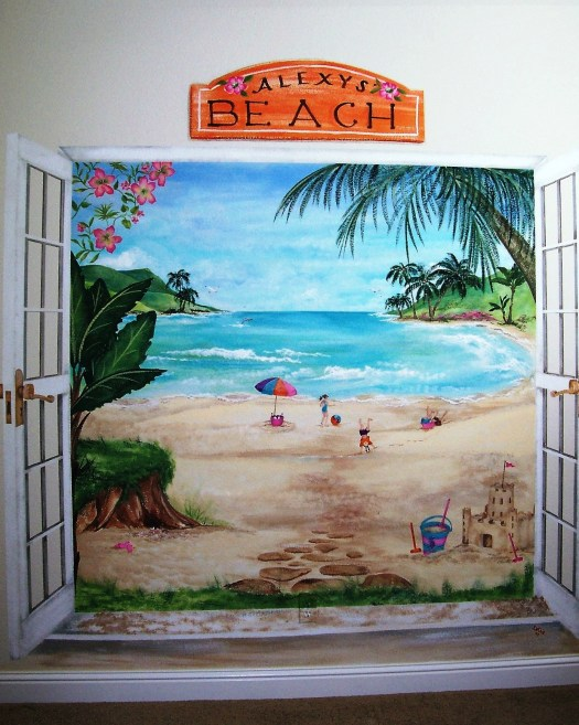 Childrens Murals Beach Painted French Doors Open To