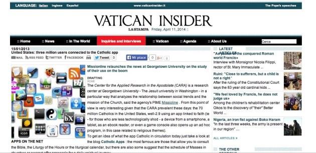 Vatican Insider la Stampa screenshot