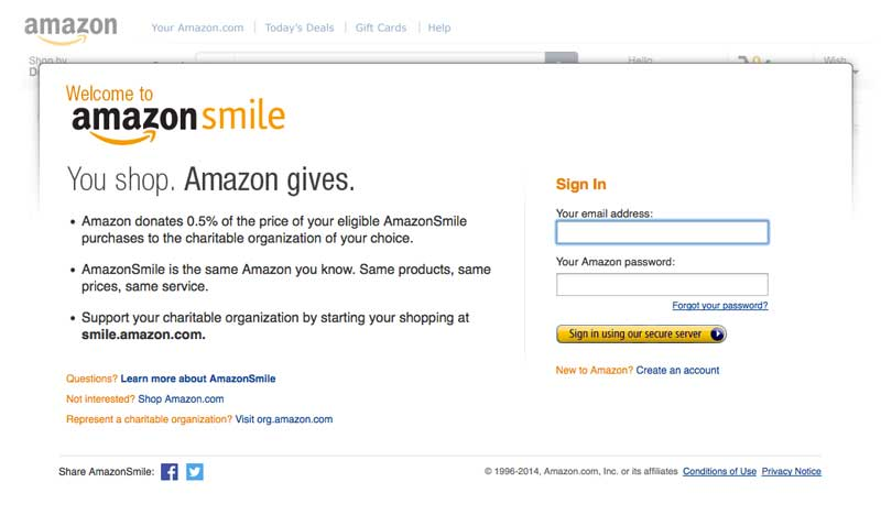 Amazon Smile - sign in screen