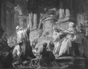 Jeroboam offering idolatrous worship.