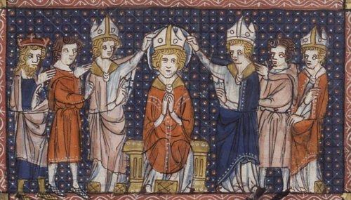 The ordination of Saint Hilary of Poitiers14th century; Vie de saintes (details/credits