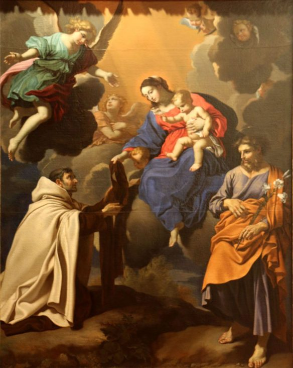The Virgin and Saint Simon Stock, by Nicolas Mignard (1606–1668) — details