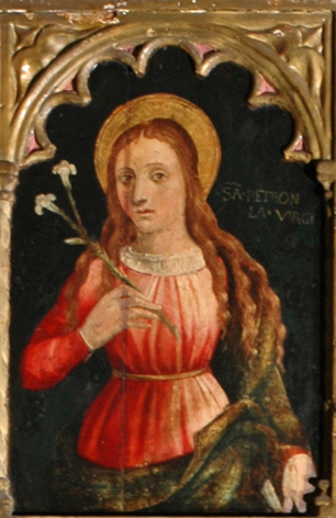 Saint Petronilla, from a painting in the Musée Contes (details)
