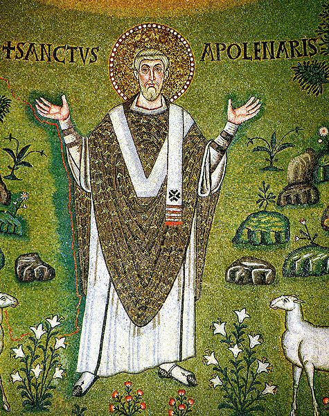 Saint Apollinaris, first bishop of Ravenna. Detail from the 6th century Byzantine mosaic in the apse of the basilica of Sant'Apollinare in Classe (source)