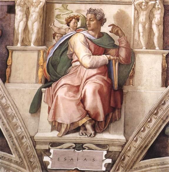 Isaiah, by Michelangelo, (c. 1508–1512, Sistine Chapel ceiling, Vatican City) https://commons.wikimedia.org/wiki/File:Michelangelo,_profeti,_Isaiah_01.jpg