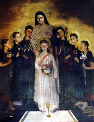 Saint Symphorosa and her seven sons (source) https://catholic4lifeblog.files.wordpress.com/2014/07/july-18-st-symphorosa-and-her-7-sons.jpg