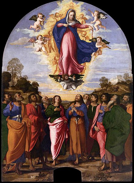 Assumption of Mary, by Palma Vecchio (1480–1528) source