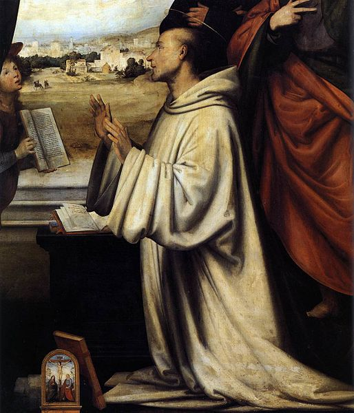 Vision of St Bernard with Sts Benedict and John the Evangelist, by Fra Bartolomeo (1472–1517) source