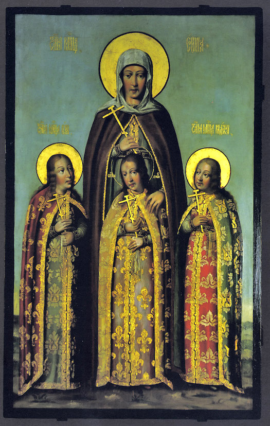 Martyrs Faith, Hope, Charity and their mother Sophia, a 1685 icon by Karp Zolotaryov (source)