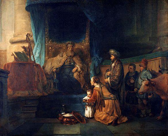 Gerbrand van den Eeckhout: Hannah presenting her son Samuel to the priest Eli ca.1665 (source)