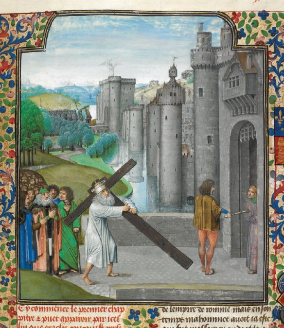 British Library, Royal MS. 15 E. I, f. 16. Heraclius returning the True Cross to Jerusalem (source)