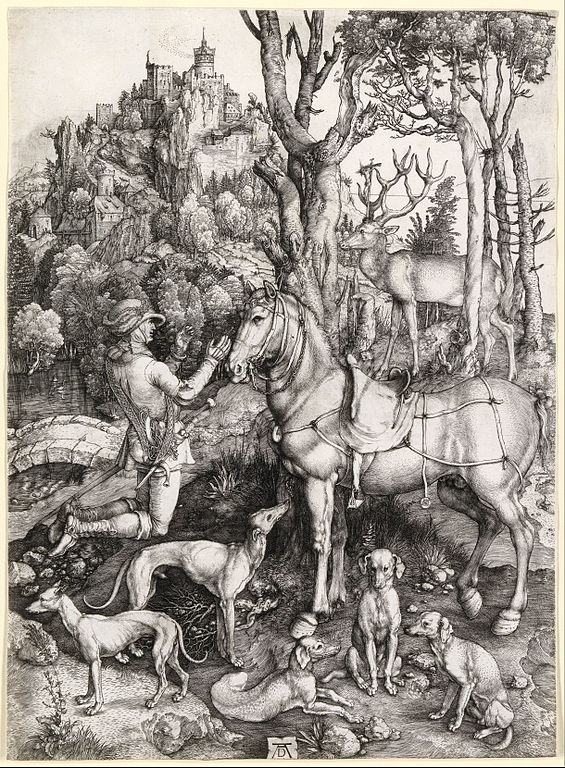 Saint Eustace, engraving by Albrecht Dürer (1471–1528) source