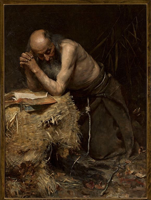 """The Anchorite"" (1881) by Teodor Axentowicz (this is not Roland de Medici, but an unidentified anchorite)"