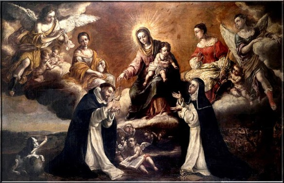 Saint Dominic receives the Rosary from the Blessed Virgin